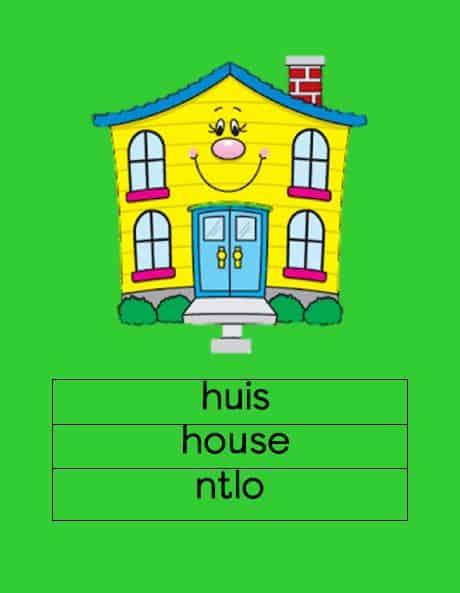 Afrikaans Huis Eng/Sesotho Muurkaarte